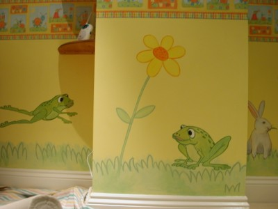 Baby Wall Murals on This Charming Frog Mural Has Been Painted In A Baby S Nursery  The