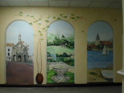 Trompe l'oeil mural arches with 3 scenes from Chichester